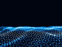 回报未来派小点和线的抽象3d 计算机几何数字式连接结构 人为的智力 库存例证
