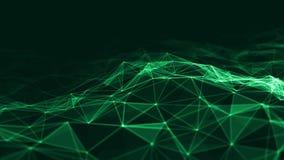 回报未来派小点和线的抽象3d 计算机几何数字式连接结构 有微粒的结节 向量例证