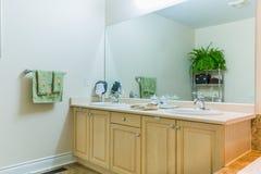回报架子的2个3d浴卫生间蓝色创造性的设计空的内部闪亮指示镜子现代马赛克人员下沉空白瓦片的管 库存图片