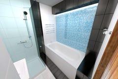 回报架子的2个3d浴卫生间蓝色创造性的设计空的内部闪亮指示镜子现代马赛克人员下沉空白瓦片的管 免版税库存照片