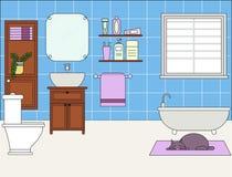 回报架子的2个3d浴卫生间蓝色创造性的设计空的内部闪亮指示镜子现代马赛克人员下沉空白瓦片的管 皇族释放例证