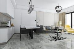 回报现代瓦片客厅和餐厅的3d 免版税库存照片