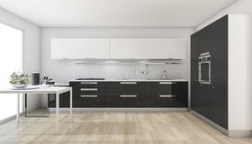 回报现代黑厨房的3d在窗口附近 库存照片