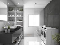 回报现代黑洗衣房和洗手间的3d 免版税库存图片