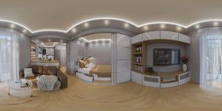 回报球状360程度,无缝的全景的3d居住 库存例证