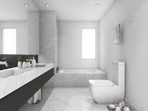 回报白色和黑大理石洗手间和卫生间的3d 免版税库存图片