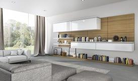 回报美丽的软的沙发的3d在客厅在庭院附近 免版税图库摄影