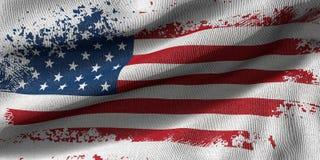 回报美国刷子冲程的旗子的与织品纹理的3D 皇族释放例证