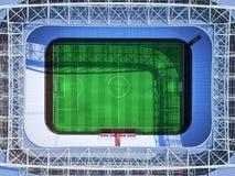 回报虚构的足球竞技场的体育场顶面3d 免版税库存照片