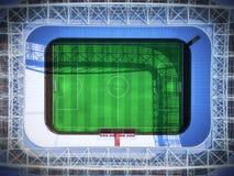 回报虚构的足球竞技场的体育场顶面3d 库存图片