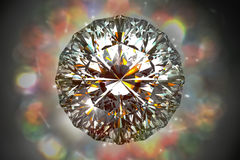 回报闪闪发光在bokeh l的反射金刚石的顶视图3d 免版税图库摄影