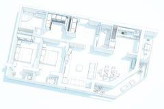 回报顶视图公寓计划 免版税库存照片