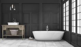 回报黑经典卫生间和洗手间的3d在窗口附近 免版税库存图片