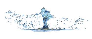 回报水的抽象飞溅在白色的3D 免版税图库摄影