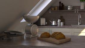 回报3D当代厨房 免版税库存照片