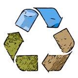 回收与土地草和天空的图片的商标 库存照片