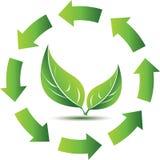 回收与绿色叶子的符号 免版税库存图片