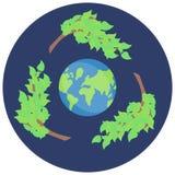 回收传染媒介的贴纸,救球绿色行星,传染媒介象 库存例证