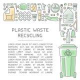 回收信息海报的塑料垃圾准备好布局 向量例证