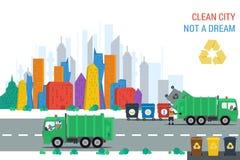 回收卡车在工作在城市 免版税图库摄影