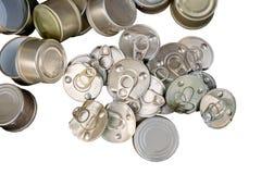 回收回收的老罐装铝能帮助是绿色的为地球 免版税库存图片