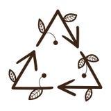 回收在三角形状的箭头 图库摄影