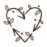 回收在心脏形状的箭头  库存图片