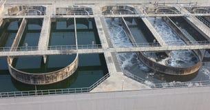 回收在污水处理驻地的水 免版税库存照片