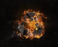 回收在火的标志 图库摄影