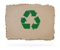 回收在纸板部分的符号。 免版税库存照片