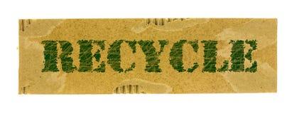 回收在纸盒纸的词 免版税库存图片