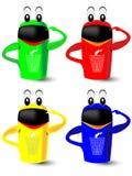 回收在蓝色,黄色,绿色和红色垃圾箱 免版税库存图片