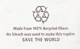 回收在餐巾的标志。 库存照片