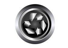 回收在黑色金属按钮的生态符号   免版税图库摄影
