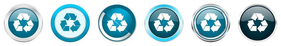 回收在6个选择,套的银色金属镀铬物边界象在白色背景隔绝的网蓝色圆的按钮 库存例证