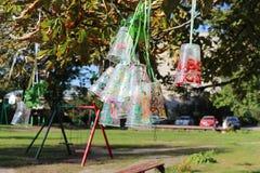 回收塑料瓶和杯子项目,上色用不同的颜色 塑料的第二生活 孩子项目在后院 免版税库存照片