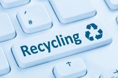 回收按钮回收自然保护蓝色计算机keyb 库存图片