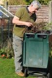 回收杂草的年长人到框。 免版税库存图片