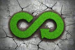 回收标志的箭头无限绿草 库存照片