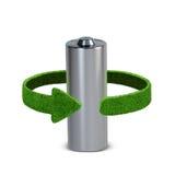 回收电池和累加器 与绿色箭头的概念从草 回收概念 免版税库存图片