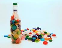 回收的塑料瓶盖 库存照片