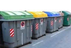 回收的大型垃圾桶 库存图片