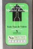 回收站在马德里 免版税库存图片