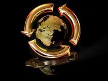 回收符号的地球 库存照片