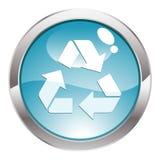 回收符号的按钮光泽 库存图片