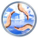 回收符号的按钮 免版税库存照片