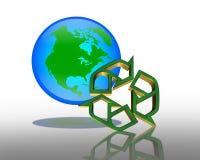 回收符号的日地球 向量例证