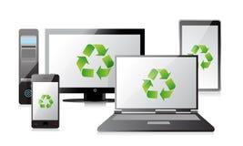 回收计算机、膝上型计算机片剂和电话,路由器 库存图片
