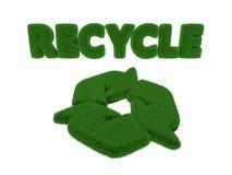 回收词和标志草 免版税库存图片