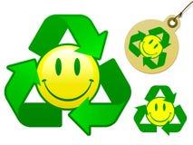 回收面带笑容的收集图标 库存照片